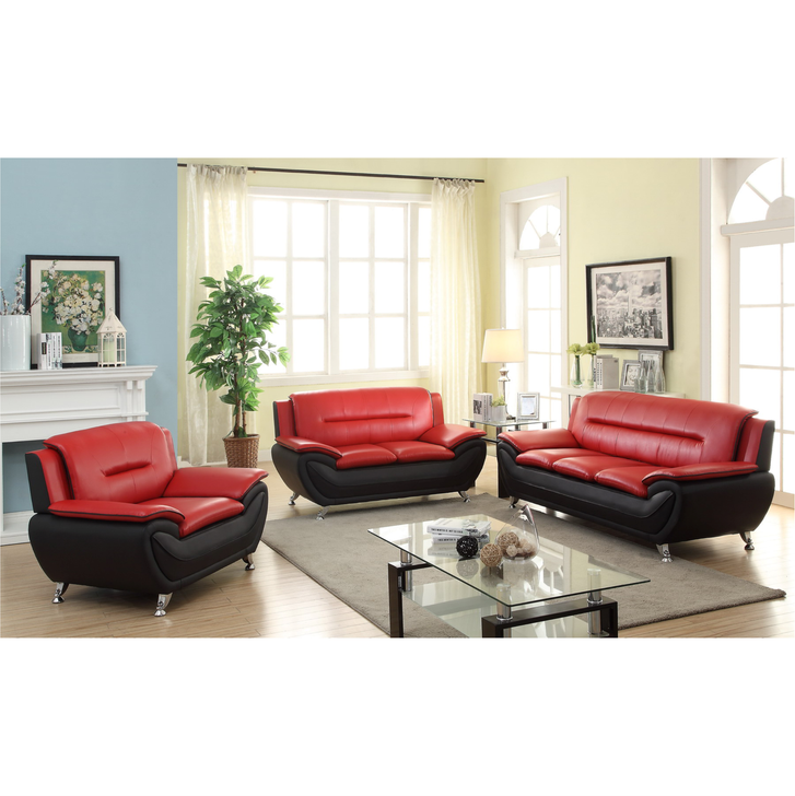 Esla Red and Black 3 Pieces Sofa Set - Sofa, Loveseat and Chair