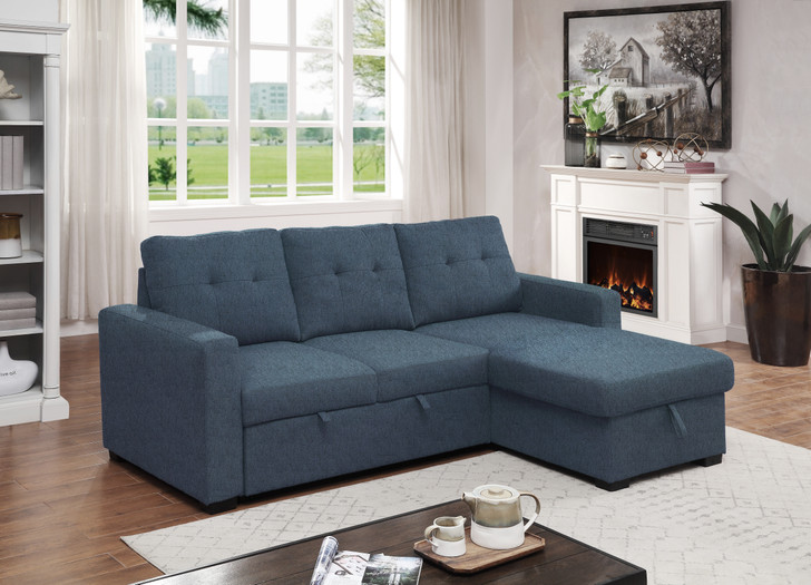 Abigail Reversible Pop-Up Sofa Bed -  Blue Fabric