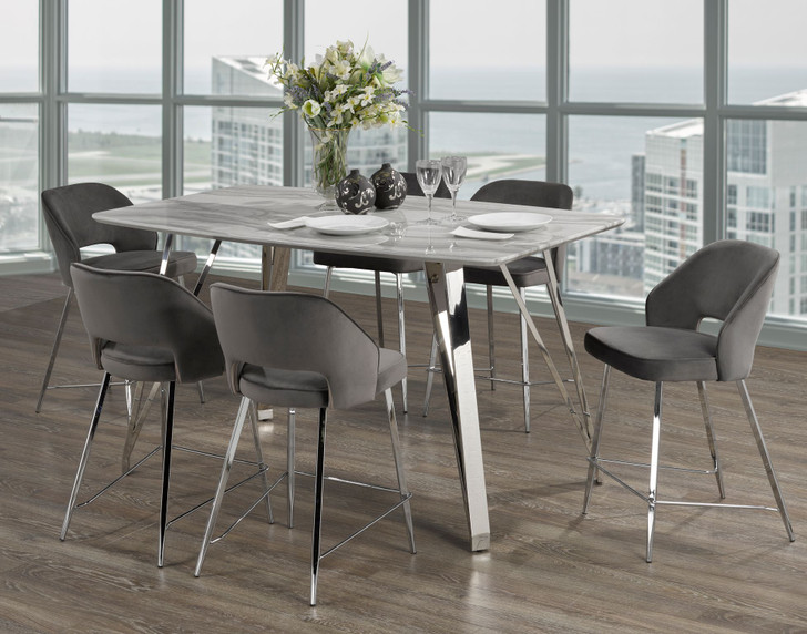 Palencia Marble Counter Height Table Set - 7 Pieces (Grey)