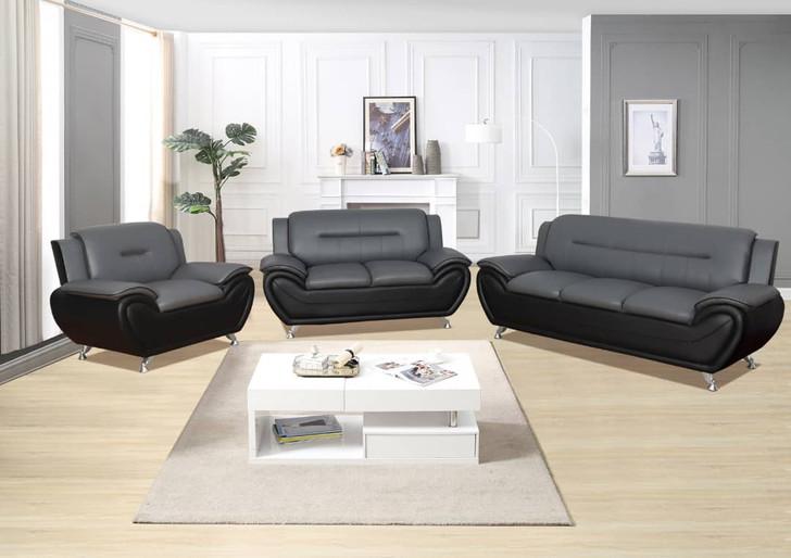 Esla Grey/Black 3 Pieces Sofa Set - Sofa, Loveseat and Chair