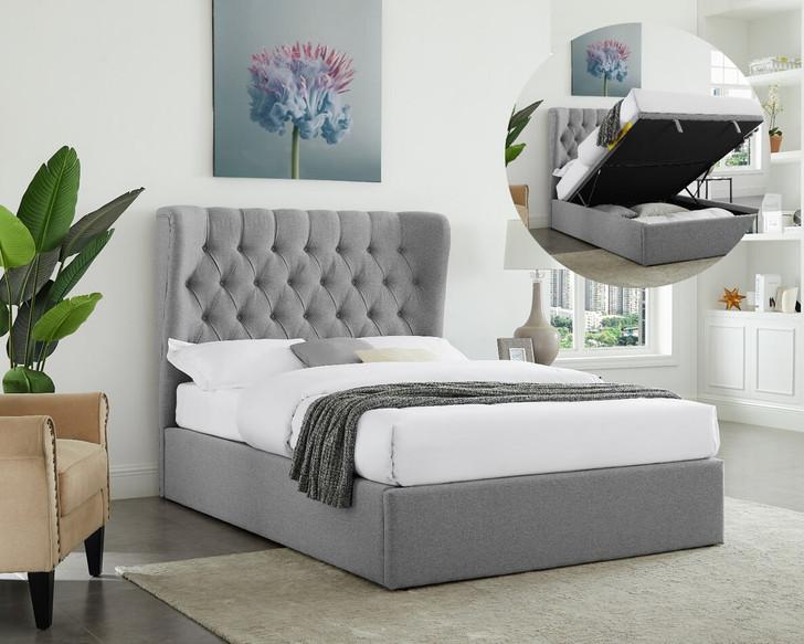 Tuscany Light Grey Gas Lift Bed