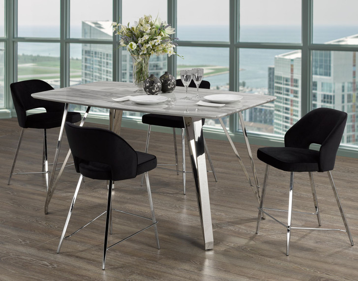 Palencia Marble Counter Height Table Set - 5 Pieces (Black)