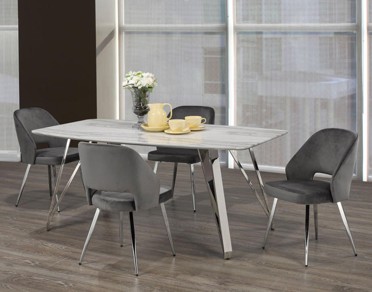 Palencia Marble Touch Dining Table Set - 5 Pieces (Grey)