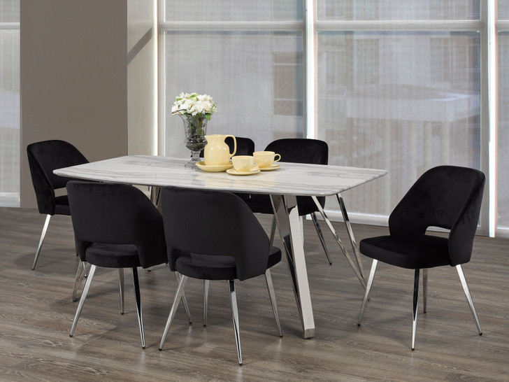 Palencia Marble Touch Dining Table Set - 7 Pieces (Black)