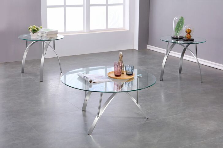 Zila 3 Pcs. Coffee Table Set (Chrome) - Coffee Table and 2 End Tables