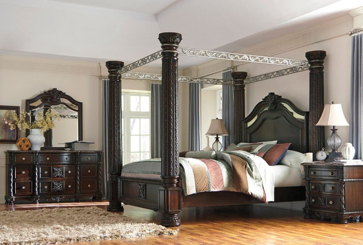 North Shore King Poster Bed with Canopy with Mirrored Dresser, Chest and Nightstand