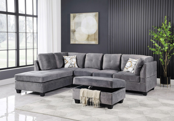Snow Grey Velvet Sectional with Storage Ottoman - LHF/ RHF Configurable