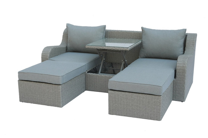 Salena Patio Sectional w/ 2 Ottomans and Hidden Coffee Table - Lift Top
