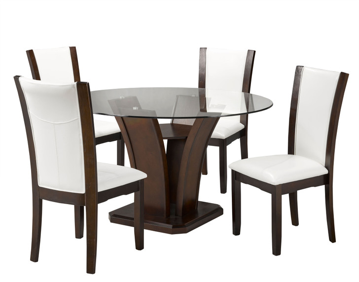 Camella Round Glass Dining Set - 5 Pieces (White)