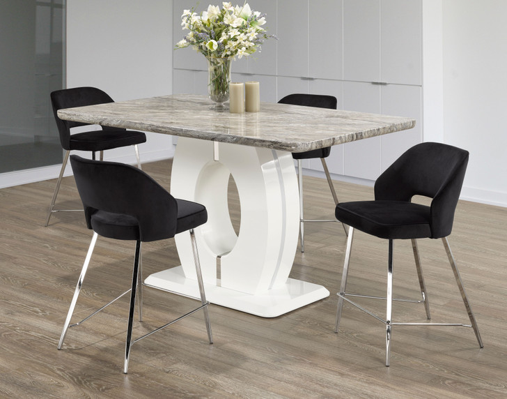 Hamburg Marble Touch Counter Height Table Set -  Black