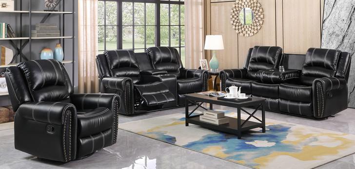 Moreno 3 Pcs. Reclining Sofa Set - Black Leather Air