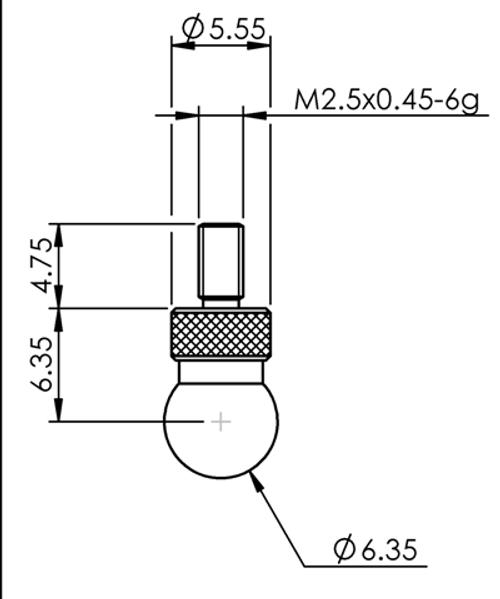 Tip Ø6.35 mm Ball Tungsten Carbide