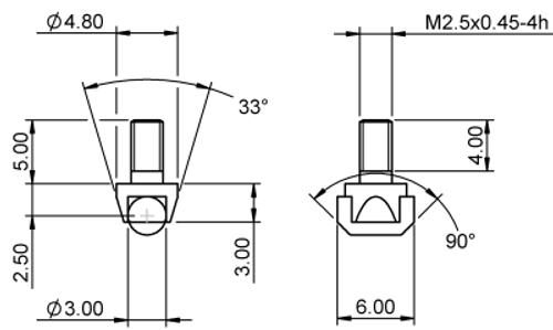 Tip Roller Ø3.0 Tungsten Carbide M2.5x0.45 thread