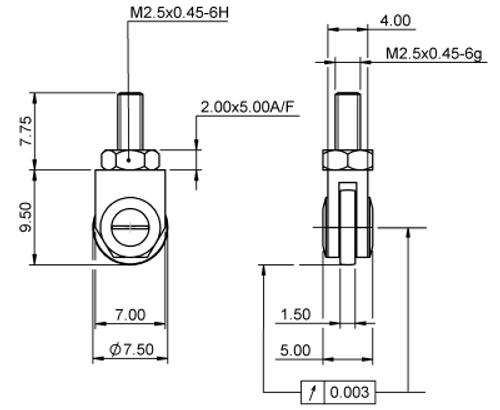 Tip Wheeel Ø7.5 x 1.5  Roller Tungsten Carbide M2.5x0.45 thread