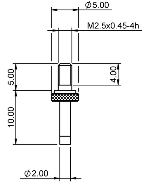 Tip Pin Ø2.0 Tungsten Carbide M2.5x0.45 thread