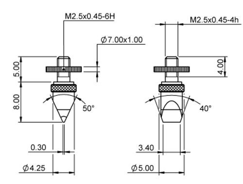 Tip Knife Edge 0.3x4.25 Tungsten Carbide M2.5x0.45 thread