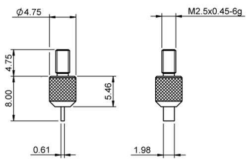 Tip Blade Edge 0.6 x 2 Tungsten Carbide M2.5x0.45 thread