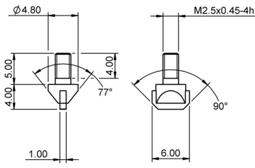 Tip Blade Edge 1 x 6 Tungsten Carbide M2.5x0.45 thread