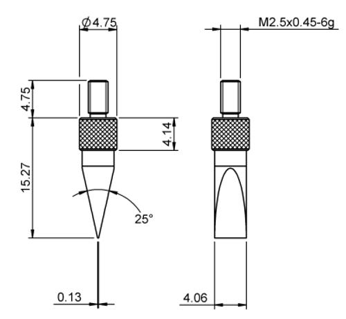 Tip Knife Edge 4X11 Tungsten Carbide M2.5x0.45 thread