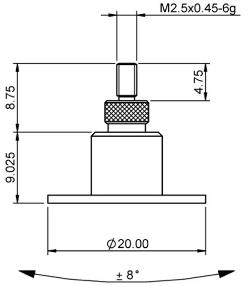 Tip Floating  Ø20.0 Steel M2.5x0.45 thread