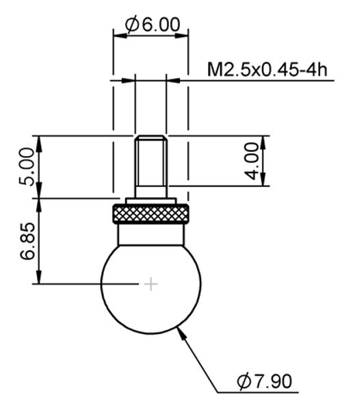 Tip Ø7.90 mm Ball Tungsten Carbide