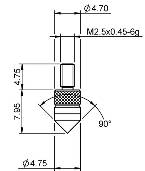 Tip Cone (90°) Tungsten Carbide