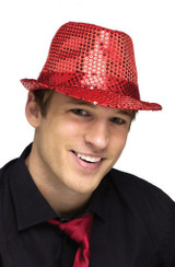 Red Sequin Fedora Hat back