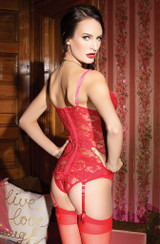 Red Lace & Velvet bustier back