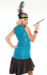 Costume Bleu Paillette des Années 20