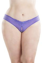 Plus Size Crotchless String avec Perles Violet