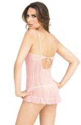 Mesh Chemise & G-String Pink back