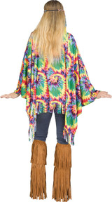 Costume Poncho Hippie Tie-Dye back