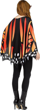Deguisement Poncho Papillon Monarque Orange pour Femme - image arriere