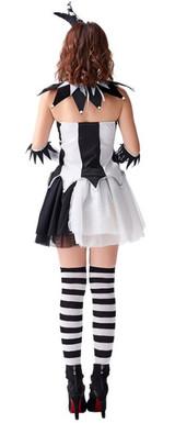 Costume de Bouffonne Noir et Blanc pour Femmes - deuxieme image
