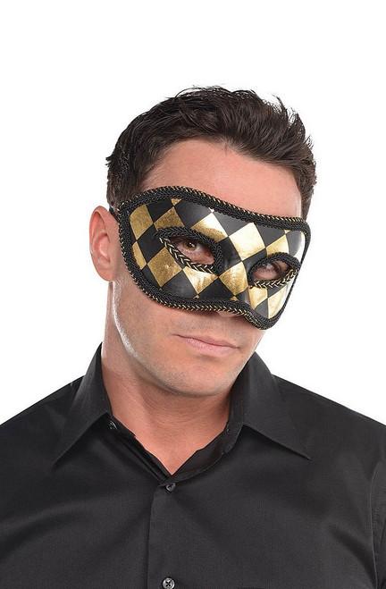 Masque de Harlequin Noir et Or pour Adulte