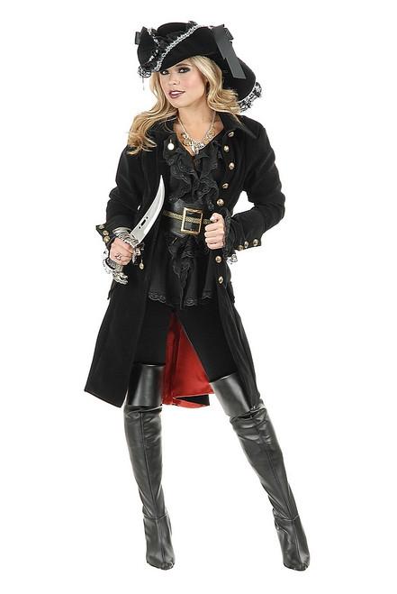 Manteau De Velours Noir De Femme Pirate
