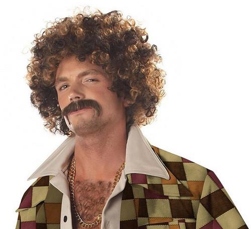 Perruque et Moustache de Sac Sale de Disco