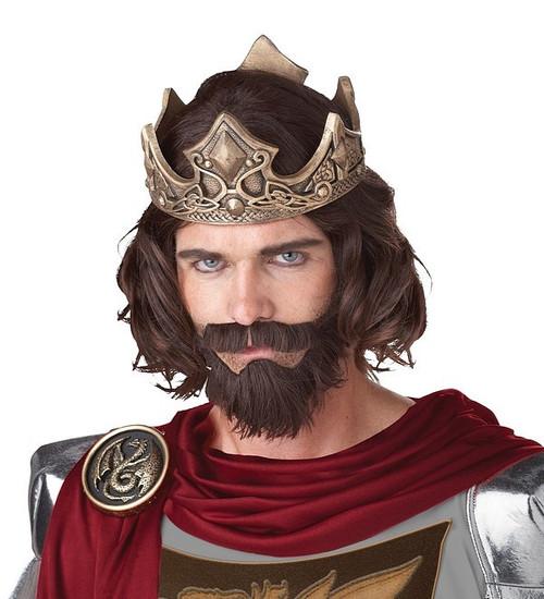 Perruque Brune de Roi Médiéval