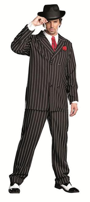 Costume de Gangster Noir à Rayures