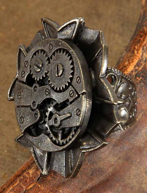 Antique Montre Gears Bague