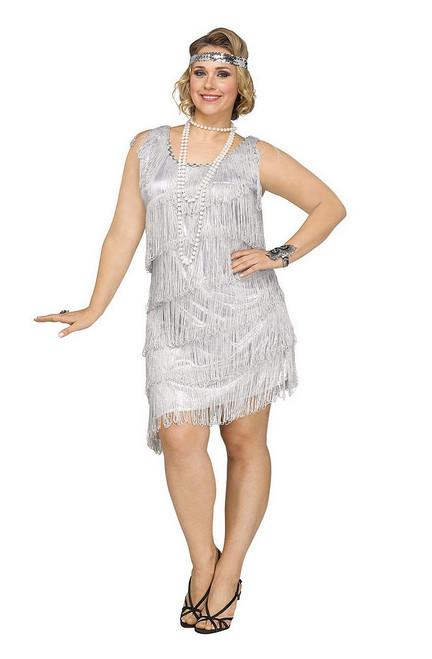 Costume Argent Brillant de  la jeune fille délurée pour Adulte Taille Plus