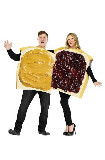 Costume de couple de Tartines au Beurre d'Arachide et à la confiture pour Adulte