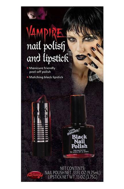 Vernis à ongles noir et rouge à lèvres