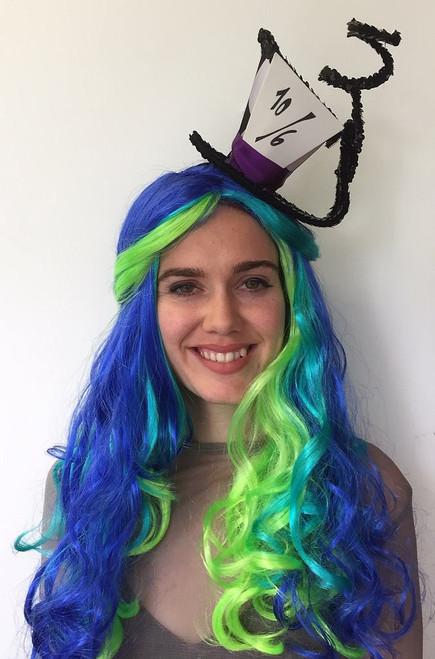Parti Curls perruque bleu et vert