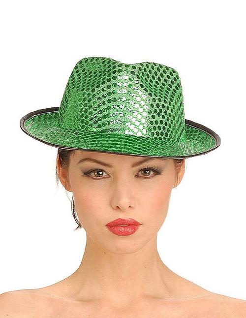 sequin fedora chapeau vert