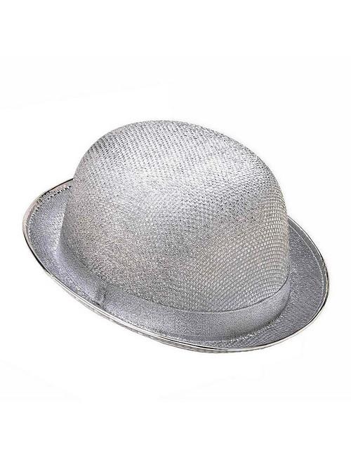 Chapeau d'Argent de Derby avec Maillage et Paillettes