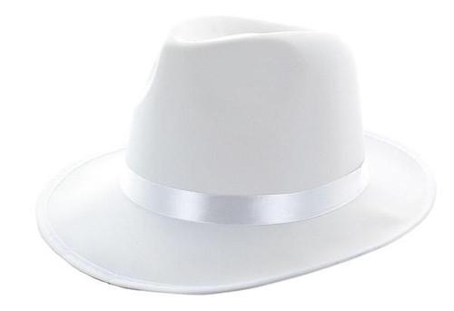 Blanc Gangster Fedora Hat