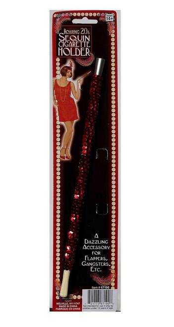 Porte Cigarette en Paillettes Rouges des Années 20
