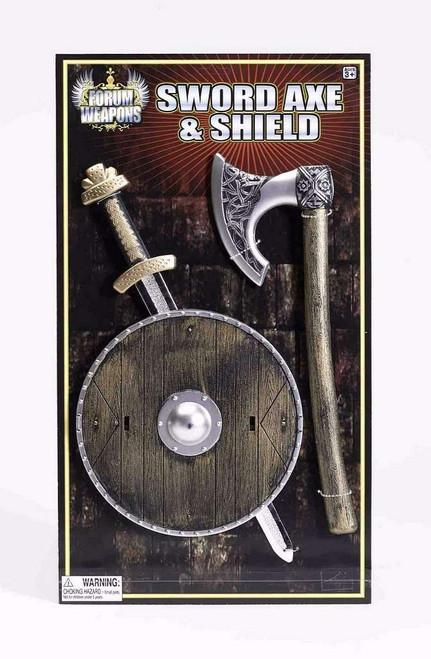 Bouclier Viking, épée et Ax