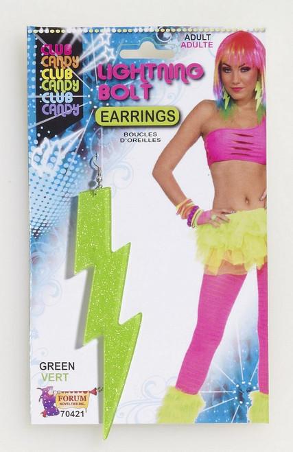 Lightening Bolt Boucles d'oreilles vert